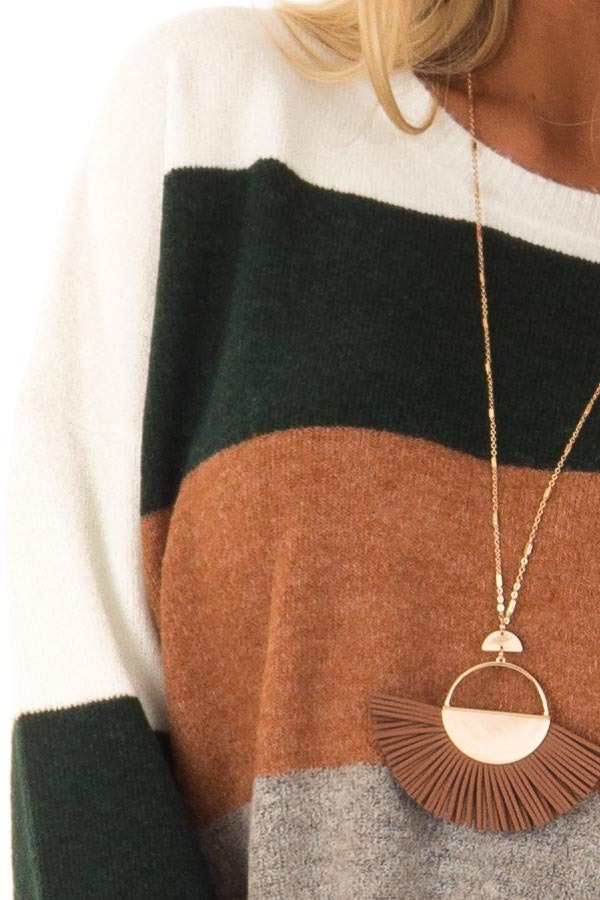 Rust and Hunter Green Color Block Sweater with Long Sleeves detail