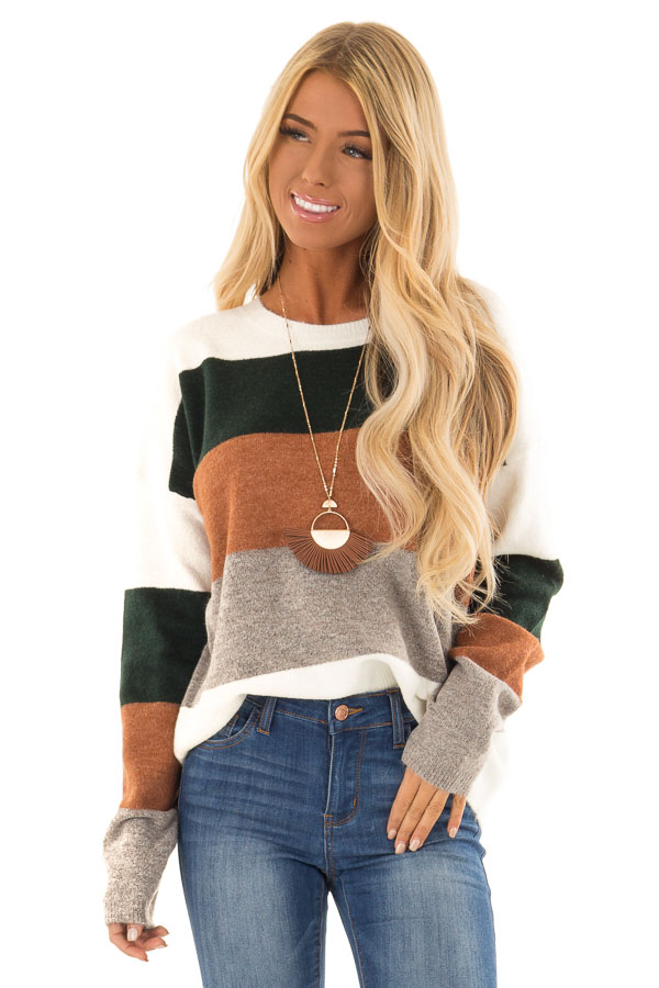 Rust and Hunter Green Color Block Sweater with Long Sleeves front close up