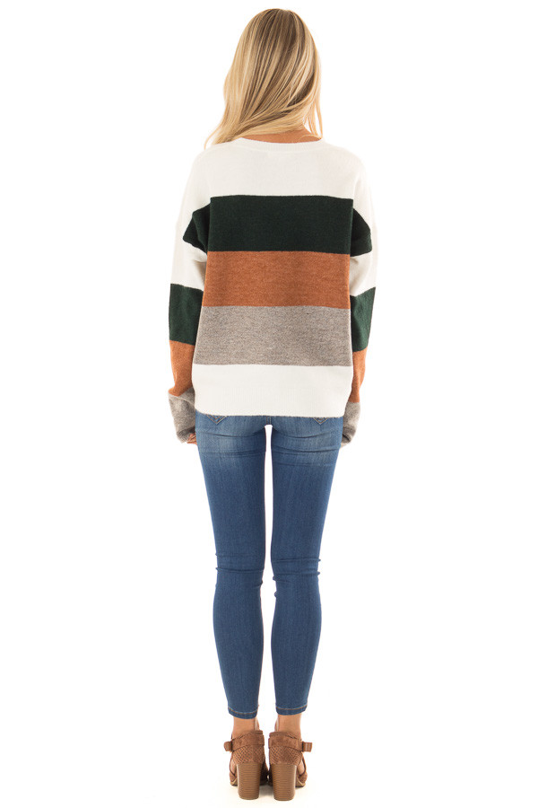 Rust and Hunter Green Color Block Sweater with Long Sleeves back full body