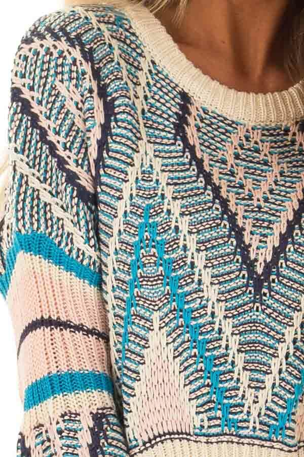 Azure Blue and Blush Patterned Cropped Knit Sweater detail