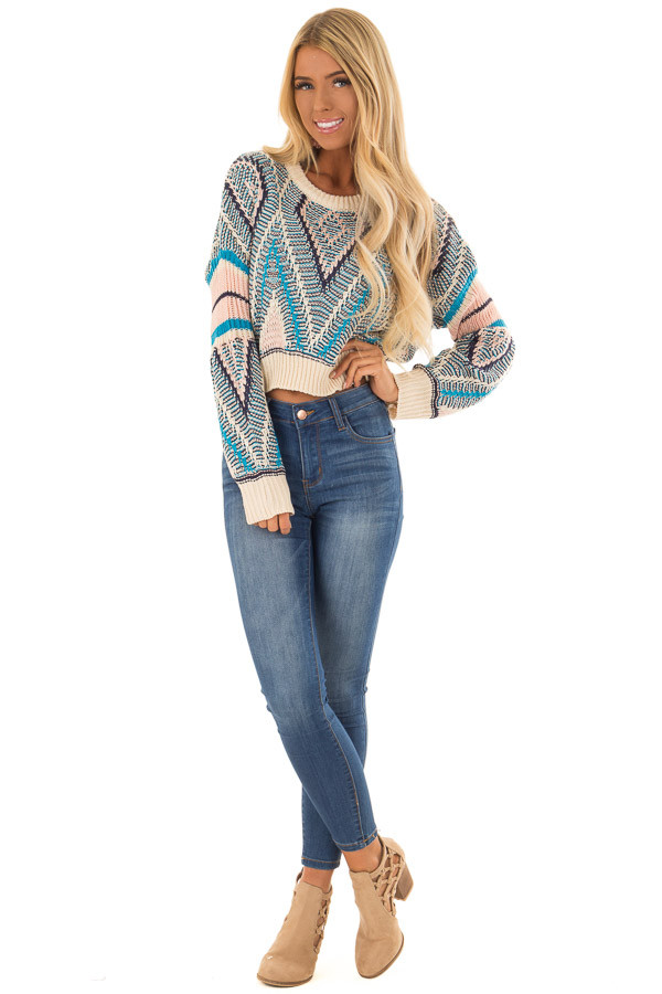 Azure Blue and Blush Patterned Cropped Knit Sweater front full body