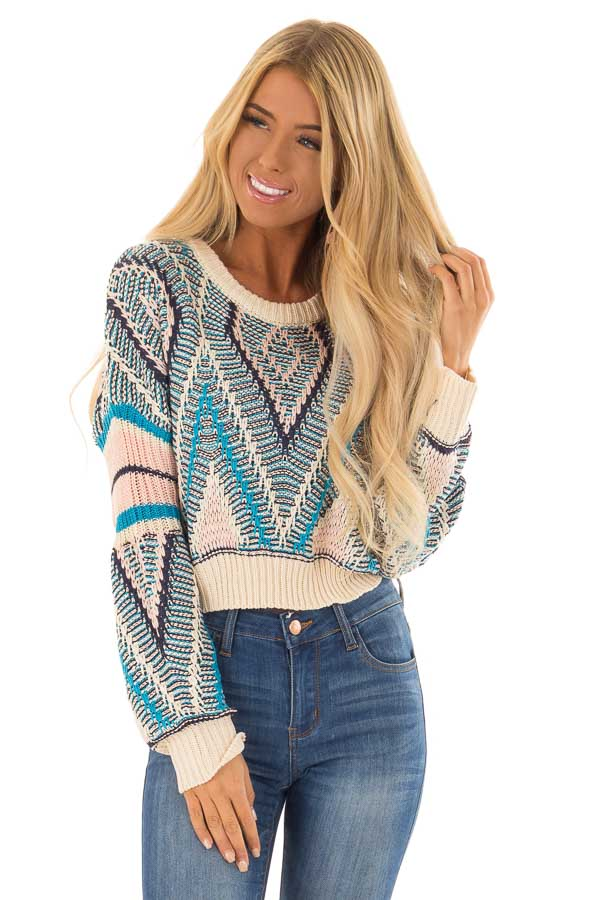 Azure Blue and Blush Patterned Cropped Knit Sweater front close up