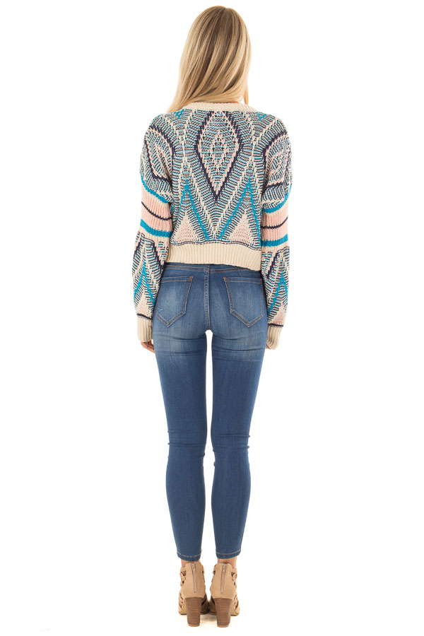 Azure Blue and Blush Patterned Cropped Knit Sweater back full body