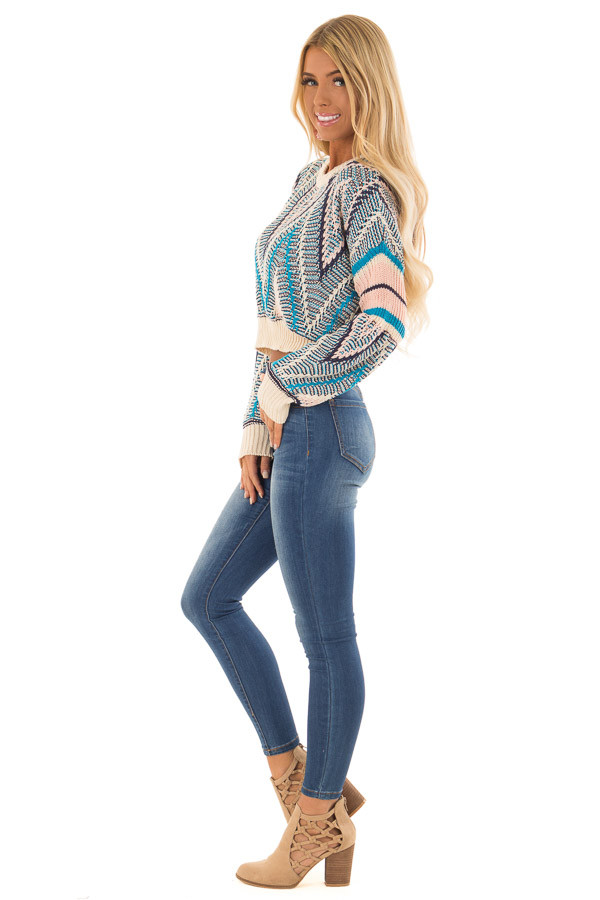 Azure Blue and Blush Patterned Cropped Knit Sweater side full body