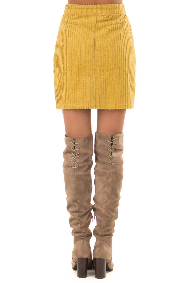 fd6cef1e933591 Mustard Corduroy Mini Skirt with Side Pockets - Lime Lush Boutique