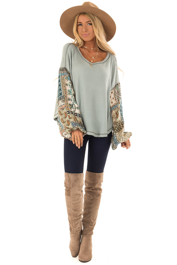 Dusty Sage Waffle Knit Top with Contrast Long Sleeves front full body