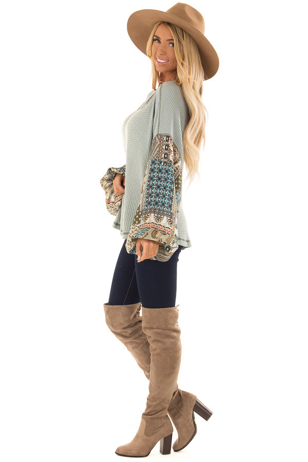 Dusty Sage Waffle Knit Top with Contrast Long Sleeves side full body