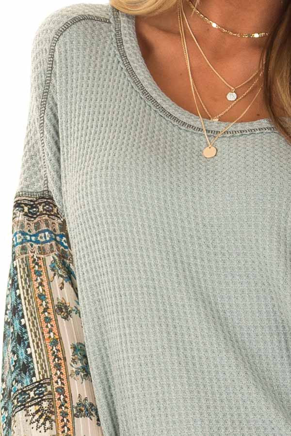Dusty Sage Waffle Knit Top with Contrast Long Sleeves detail