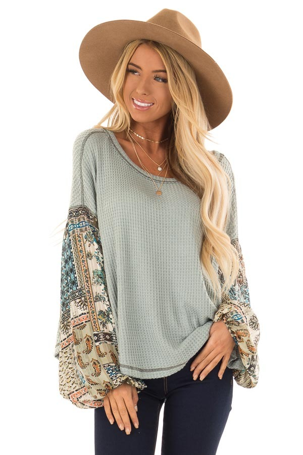 Dusty Sage Waffle Knit Top with Contrast Long Sleeves front close up