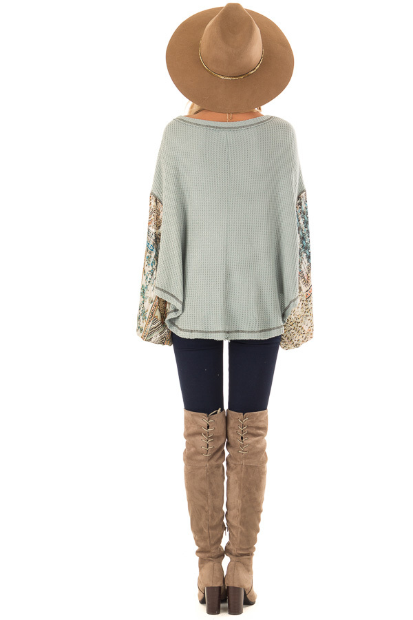 Dusty Sage Waffle Knit Top with Contrast Long Sleeves back full body