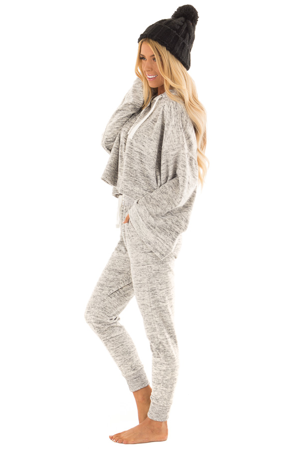Heather Grey Two Tone Cuffed Sweatpants with Side Pockets side full body