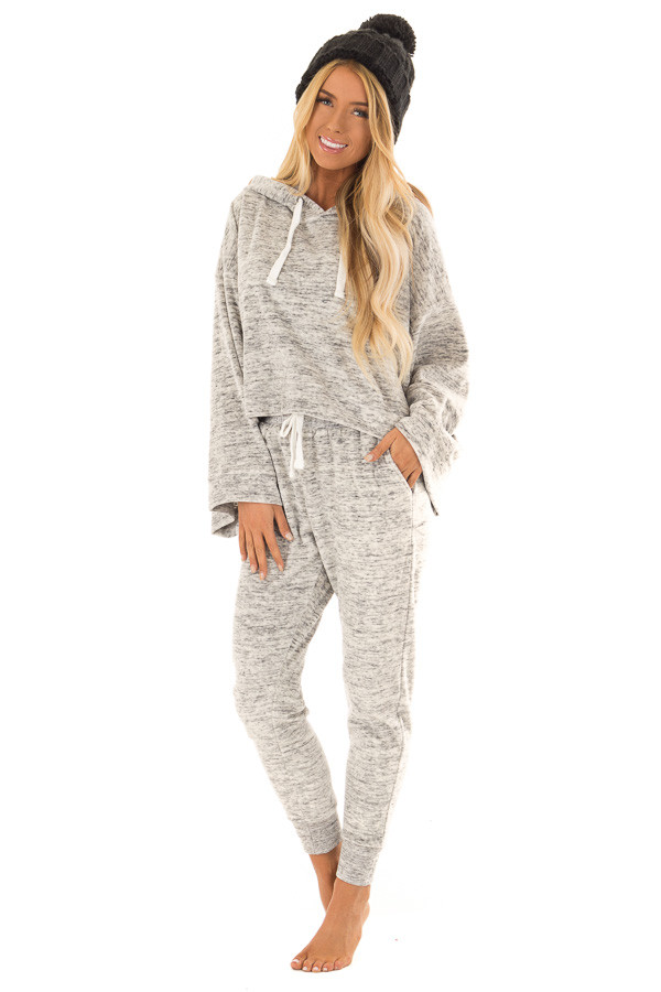 Heather Grey Two Tone Cuffed Sweatpants with Side Pockets front full body
