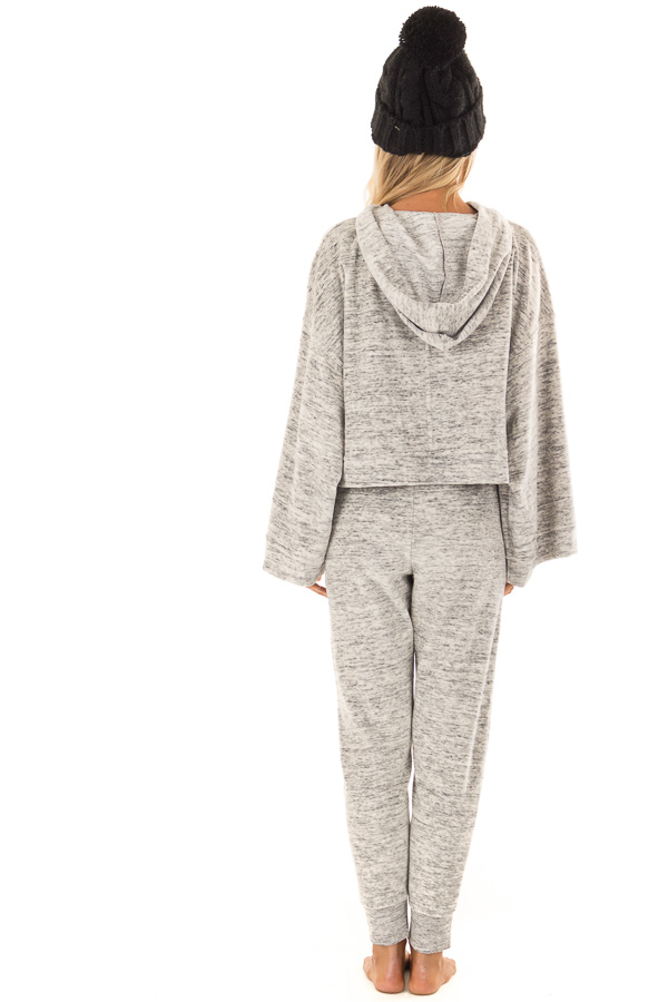 Heather Grey Two Tone Cuffed Sweatpants with Side Pockets back full body