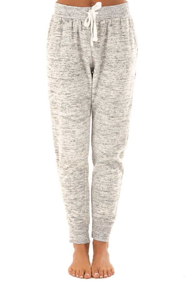 Heather Grey Two Tone Cuffed Sweatpants with Side Pockets front view