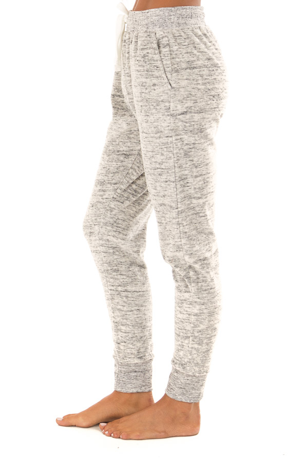 Heather Grey Two Tone Cuffed Sweatpants with Side Pockets side view