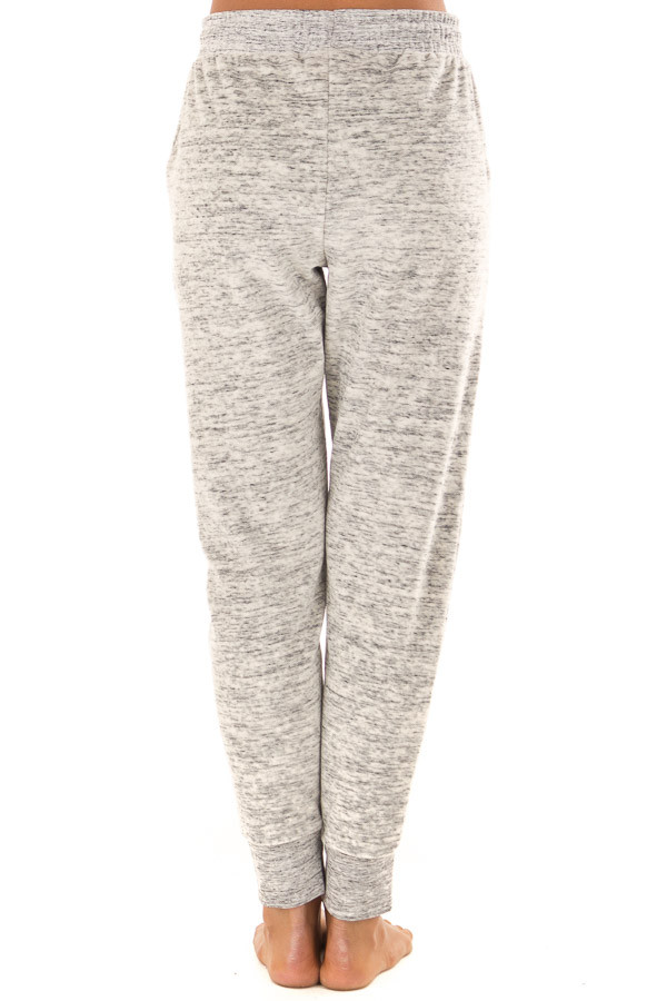 Heather Grey Two Tone Cuffed Sweatpants with Side Pockets back view
