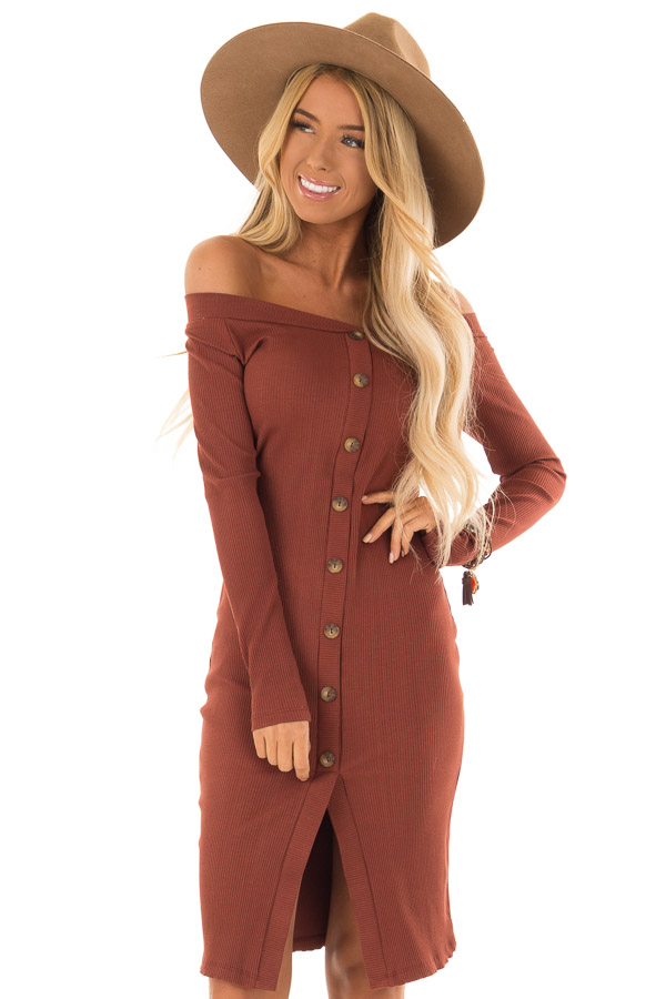 2441c197f94b Rust Ribbed Knit Long Sleeve Off the Shoulder Short Dress front close up