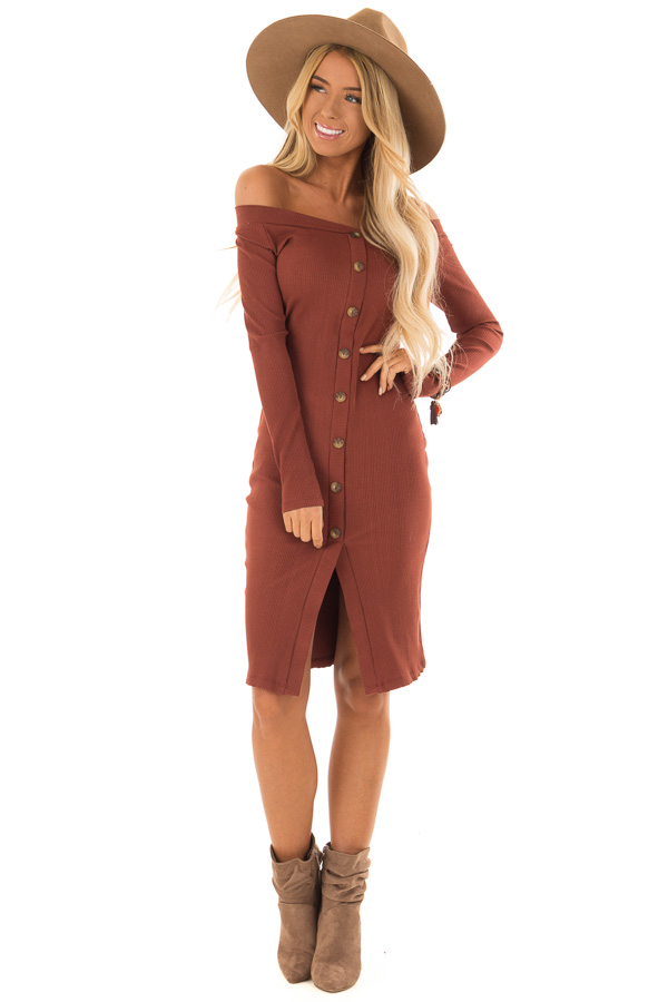 5e20f9fc35bc Rust Ribbed Knit Long Sleeve Off the Shoulder Short Dress front full body  ...