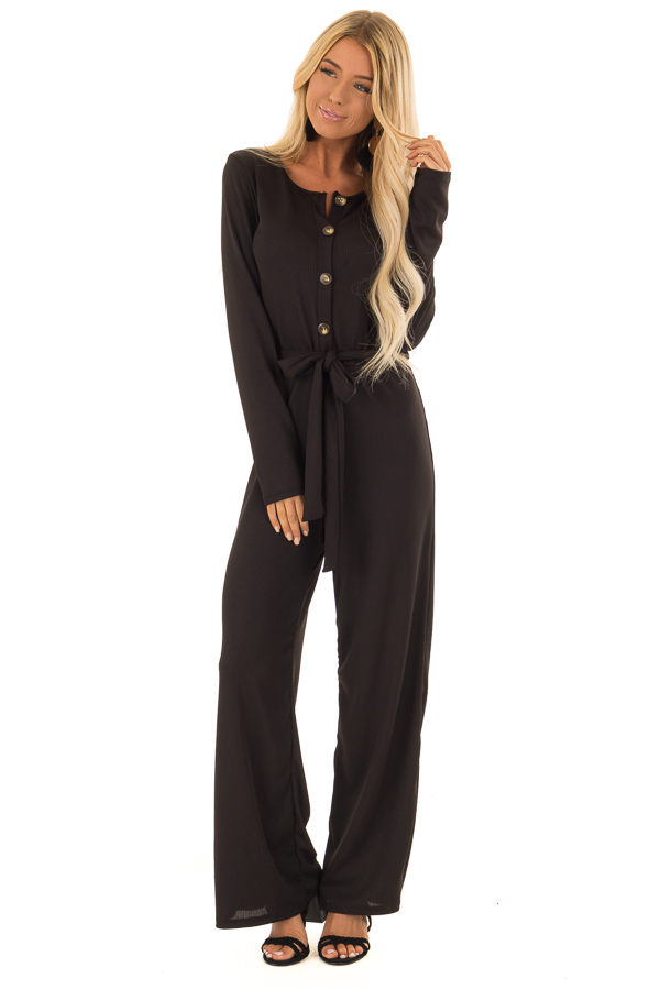 32372118275 Black Ribbed Knit Long Sleeve Jumpsuit with Waist Tie front full body ...