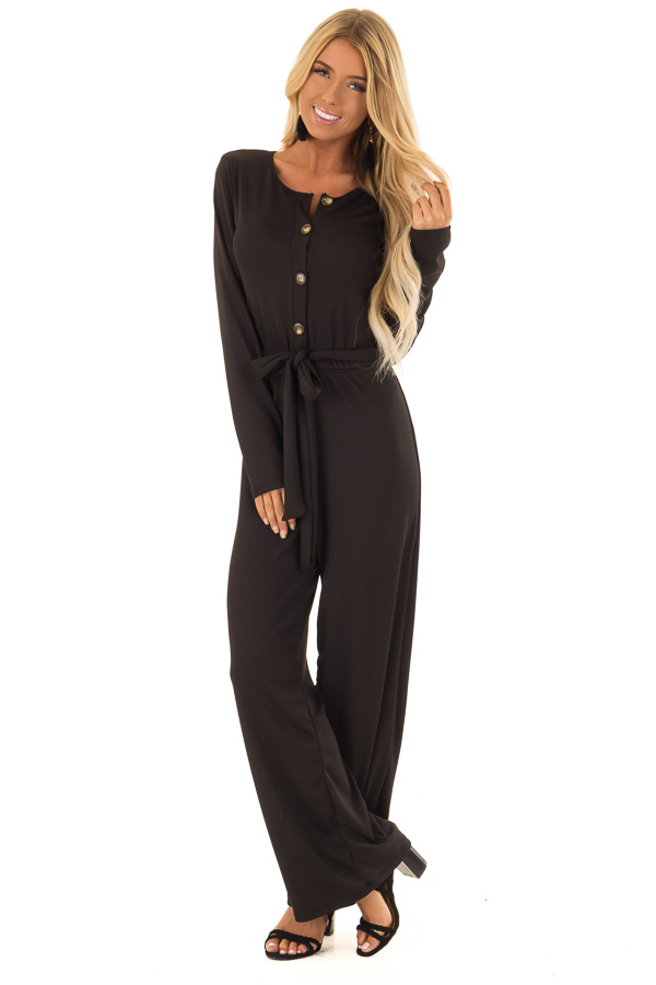 8c688c0114 Black Ribbed Knit Long Sleeve Jumpsuit with Waist Tie - Lime Lush ...