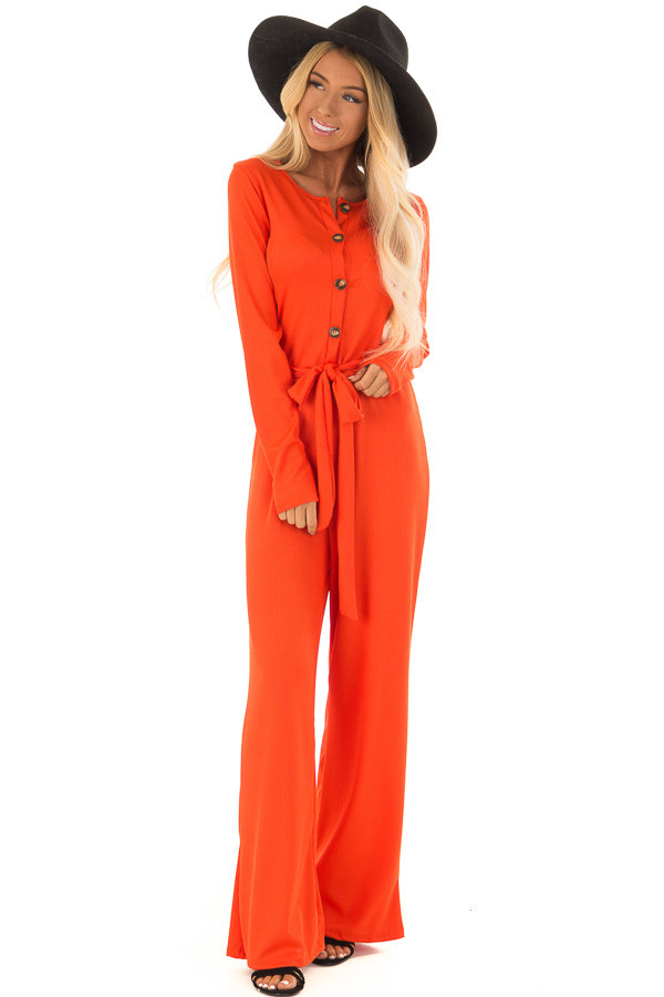 Tangelo Ribbed Knit Long Sleeve Jumpsuit with Waist Tie front full body