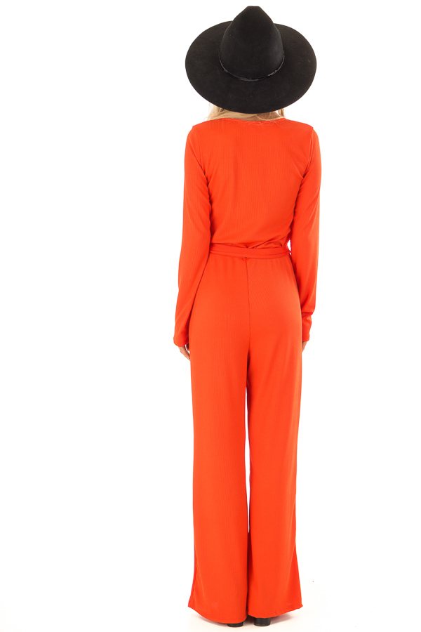 Tangelo Ribbed Knit Long Sleeve Jumpsuit with Waist Tie back full body