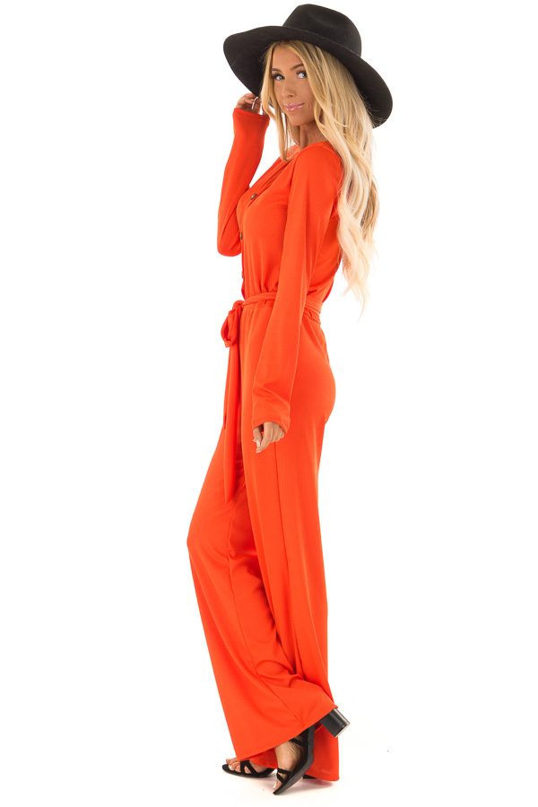 Tangelo Ribbed Knit Long Sleeve Jumpsuit with Waist Tie side full body