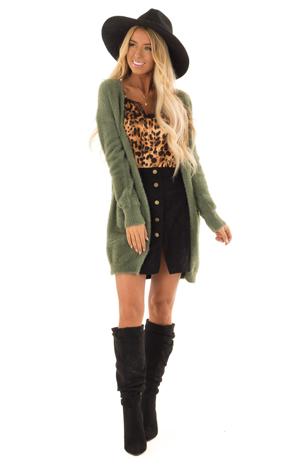 Moss Green Fuzzy Long Sleeve Open Front Cardigan front full body