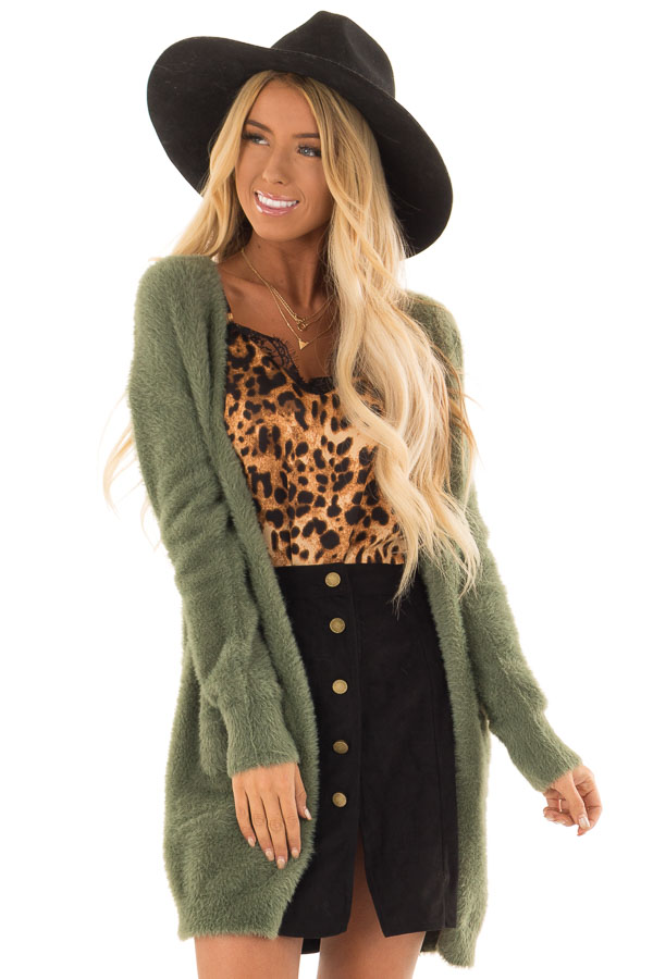 Moss Green Fuzzy Long Sleeve Open Front Cardigan front close up