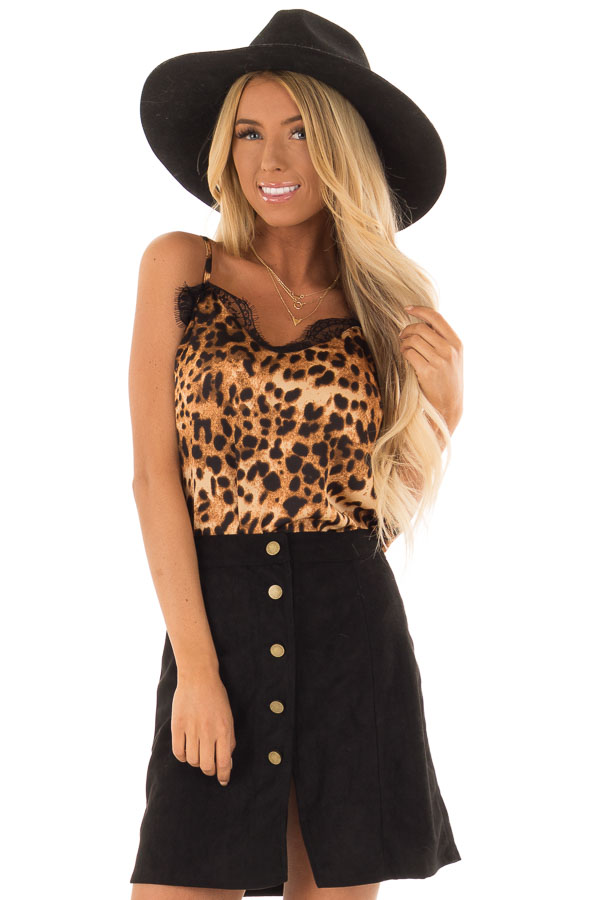 fc738a942 Mocha Leopard Animal Print Cami Top with Eyelash Lace Trim front close up