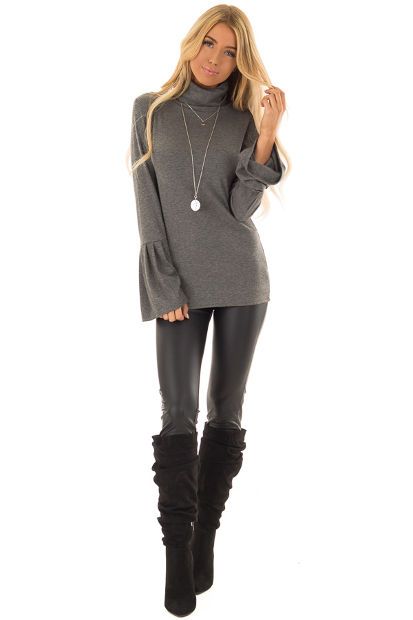 Charcoal Ribbed Turtle Neck Top with Bell Sleeves front full body