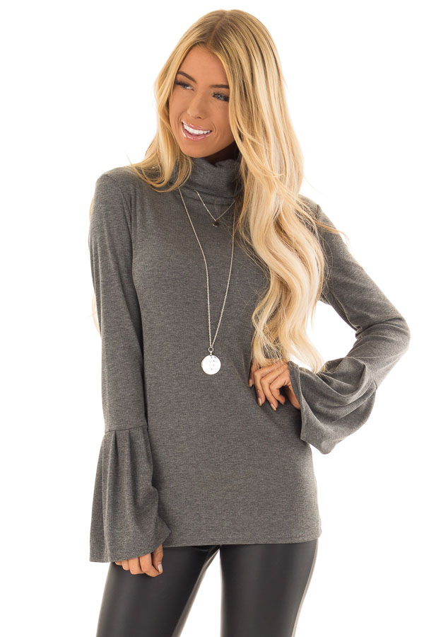 Charcoal Ribbed Turtle Neck Top with Bell Sleeves front close up