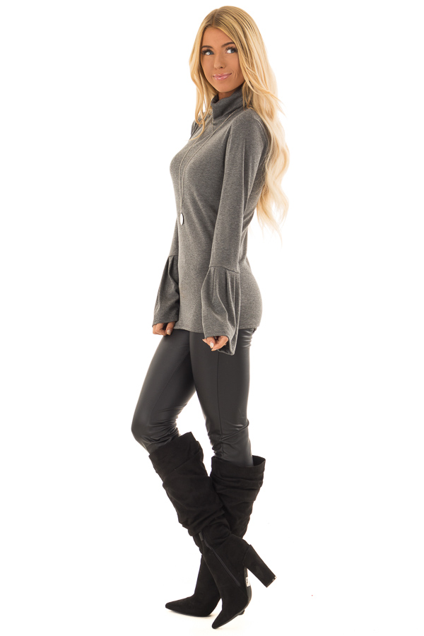 Charcoal Ribbed Turtle Neck Top with Bell Sleeves side full body
