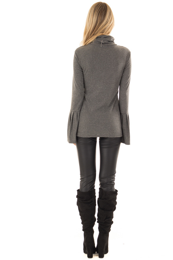 Charcoal Ribbed Turtle Neck Top with Bell Sleeves back full body