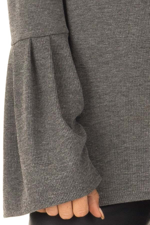 Charcoal Ribbed Turtle Neck Top with Bell Sleeves detail