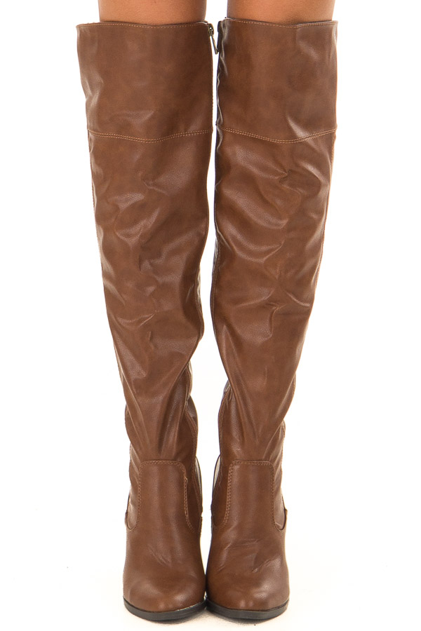 Pecan Faux Leather High Knee Boots with High Heels front view