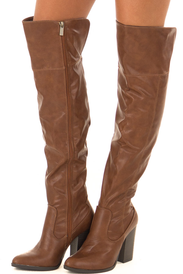 Pecan Faux Leather High Knee Boots with High Heels front side view