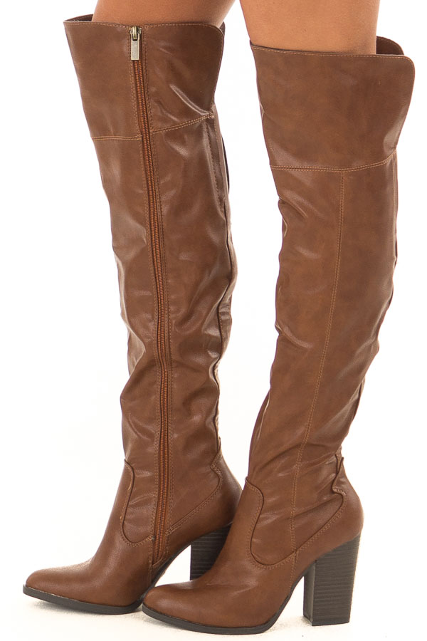 Pecan Faux Leather High Knee Boots with High Heels side view