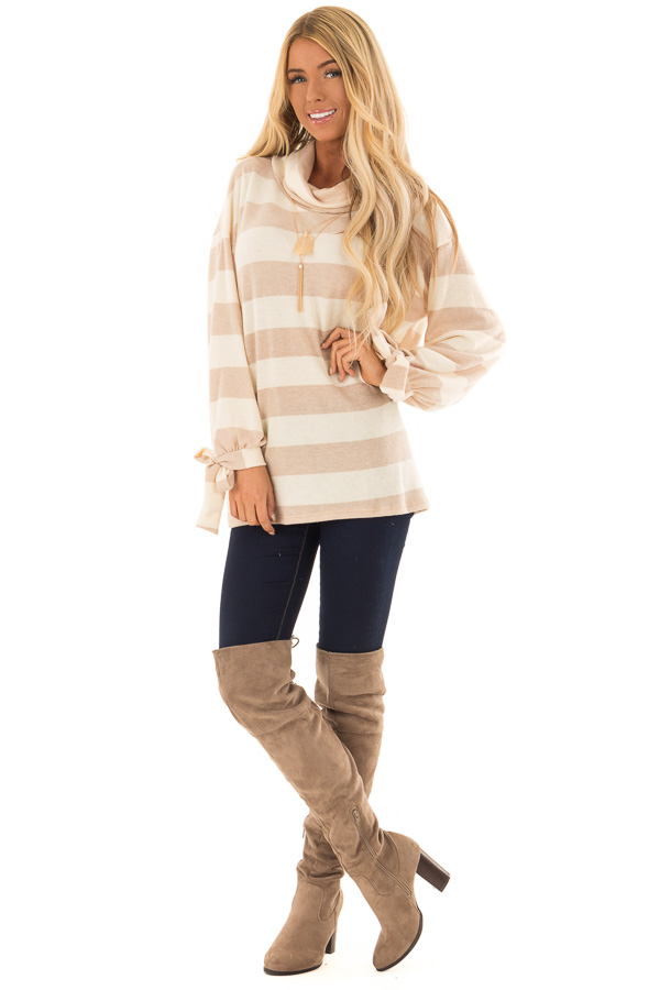 Cream and Taupe Striped Cowl Neck Top with Sleeve Ties front full body