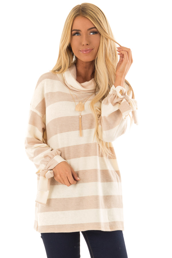 Cream and Taupe Striped Cowl Neck Top with Sleeve Ties front close up