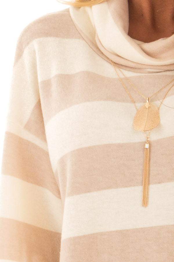 Cream and Taupe Striped Cowl Neck Top with Sleeve Ties detail