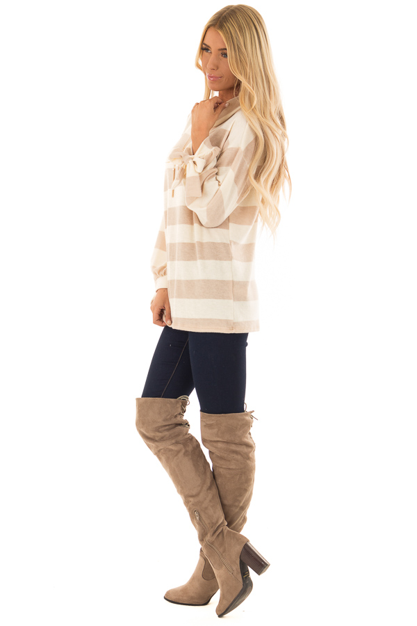 Cream and Taupe Striped Cowl Neck Top with Sleeve Ties side full body