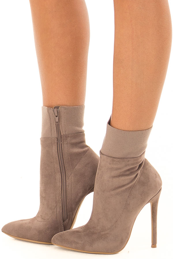 Taupe Suede High Heel Booties with Elastic Detail side view