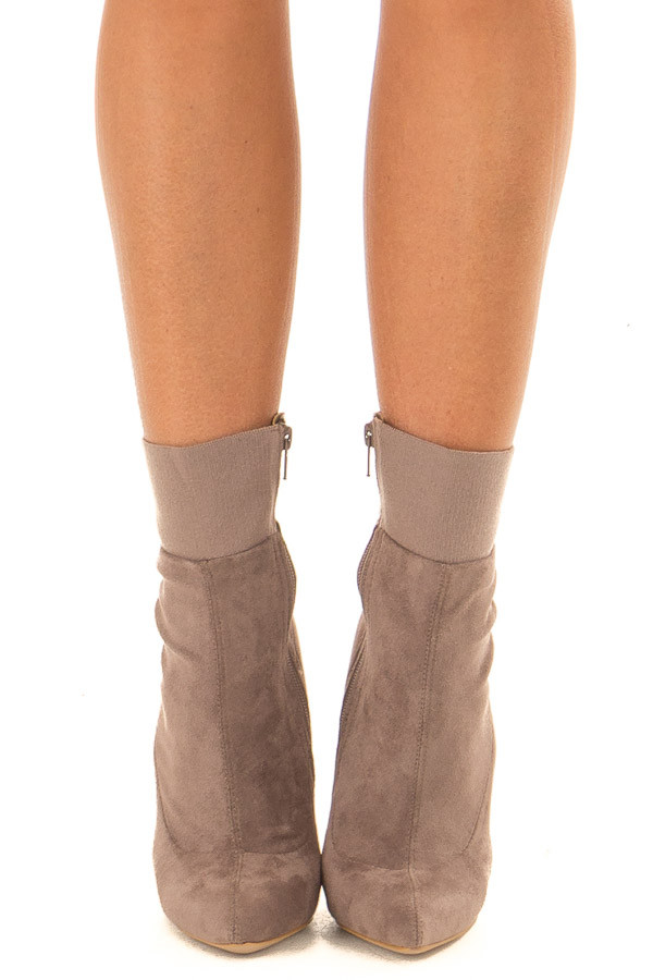 Taupe Suede High Heel Booties with Elastic Detail front view