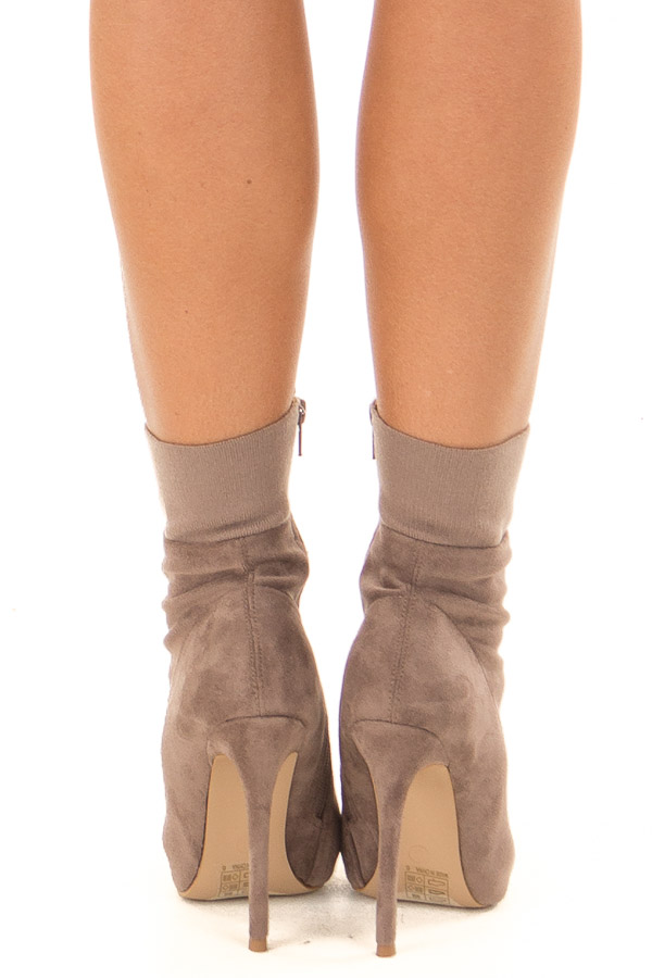 Taupe Suede High Heel Booties with Elastic Detail back view