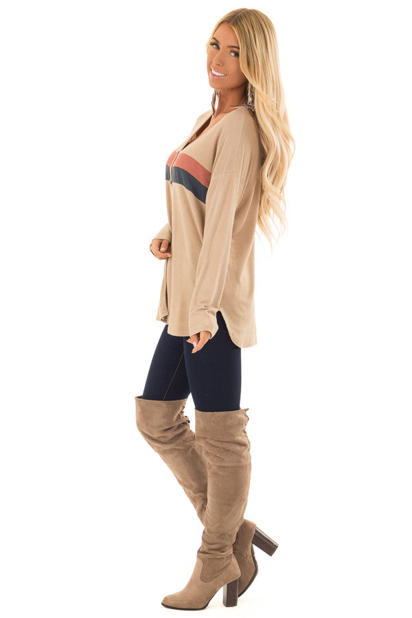 Taupe Button Up Top with Color Block Stripes side full body