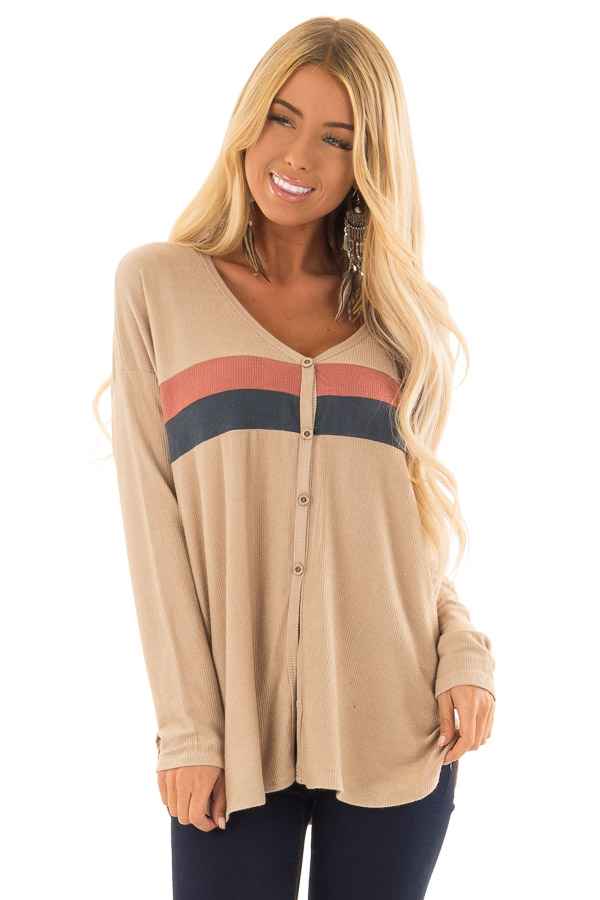 Taupe Button Up Top with Color Block Stripes front close up