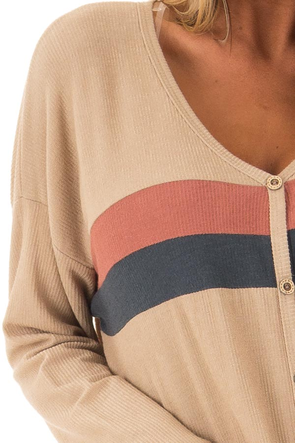 Taupe Button Up Top with Color Block Stripes detail
