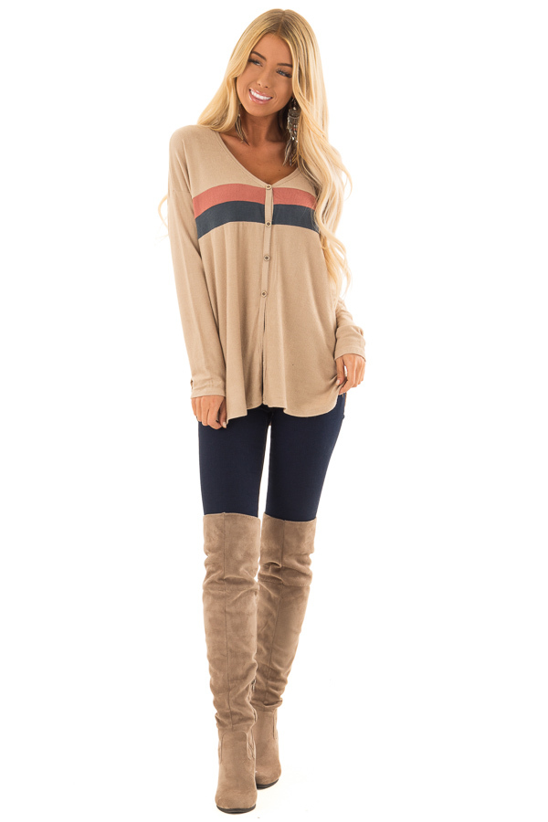 Taupe Button Up Top with Color Block Stripes front full body