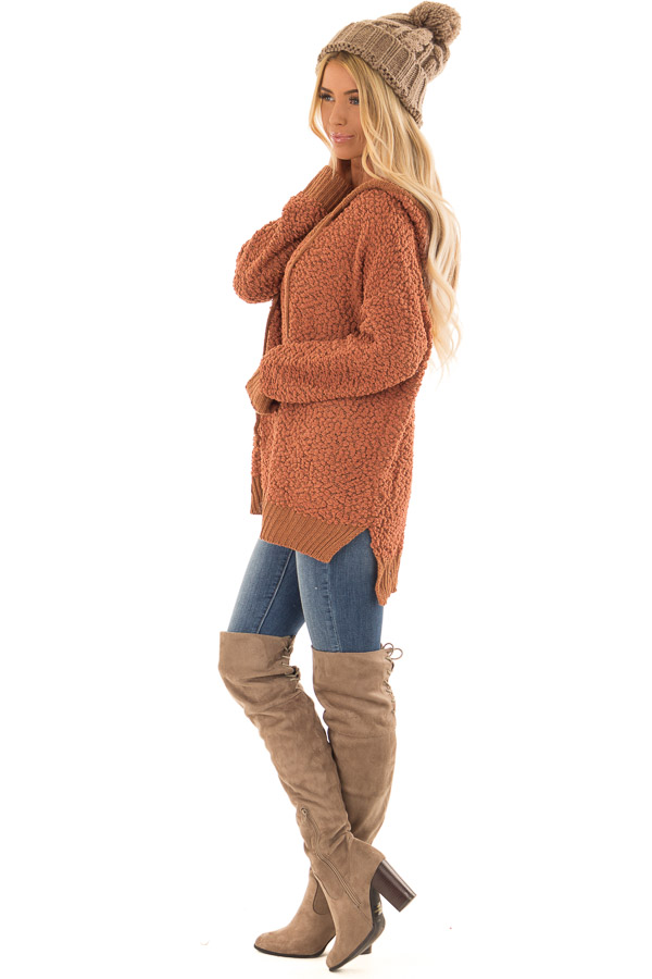 Rust Long Sleeve Popcorn Knit Hoodie with Ribbed Contrast side full body